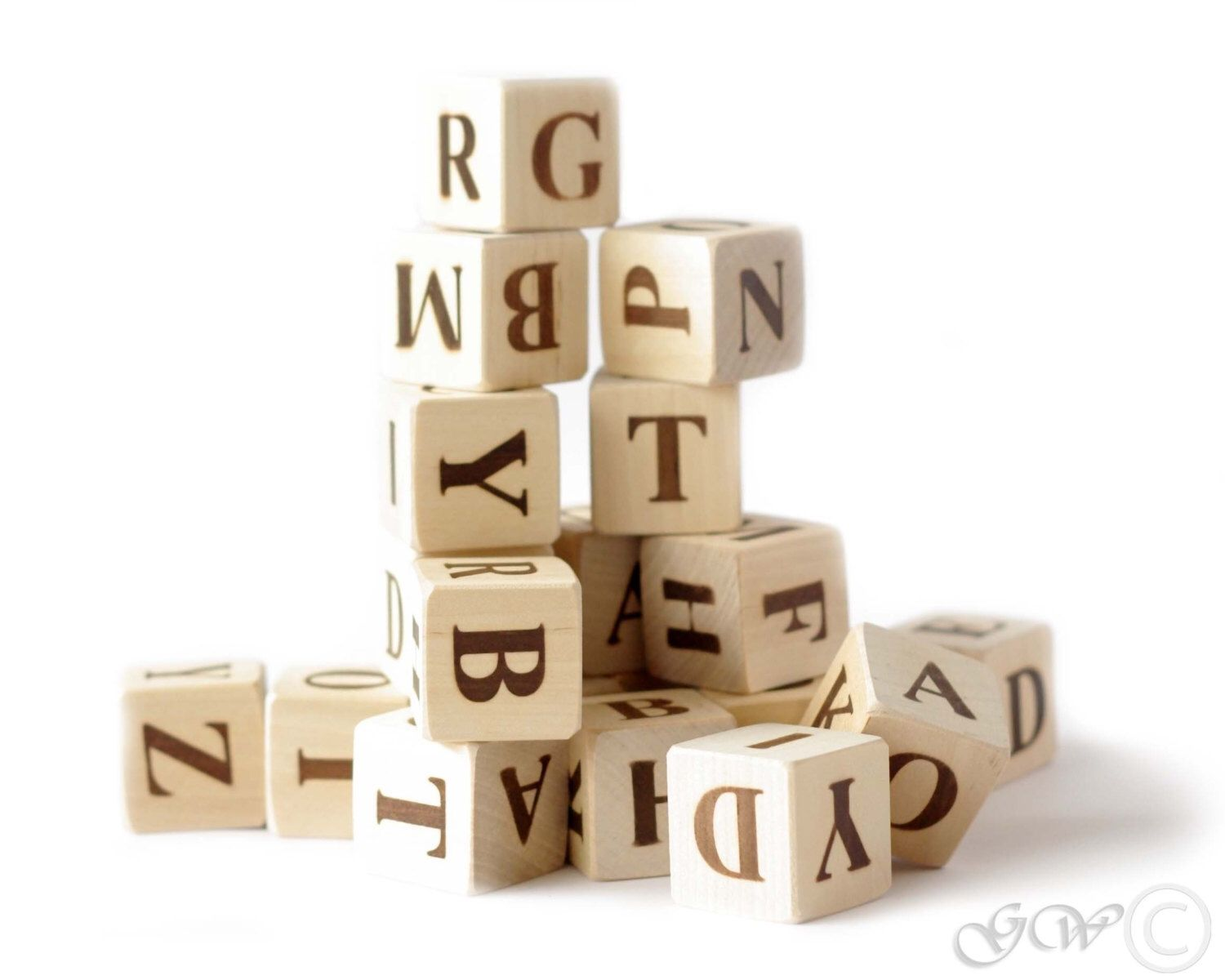 Wooden Letter Blocks Wooden Alphabet Blocks English Alphabet By