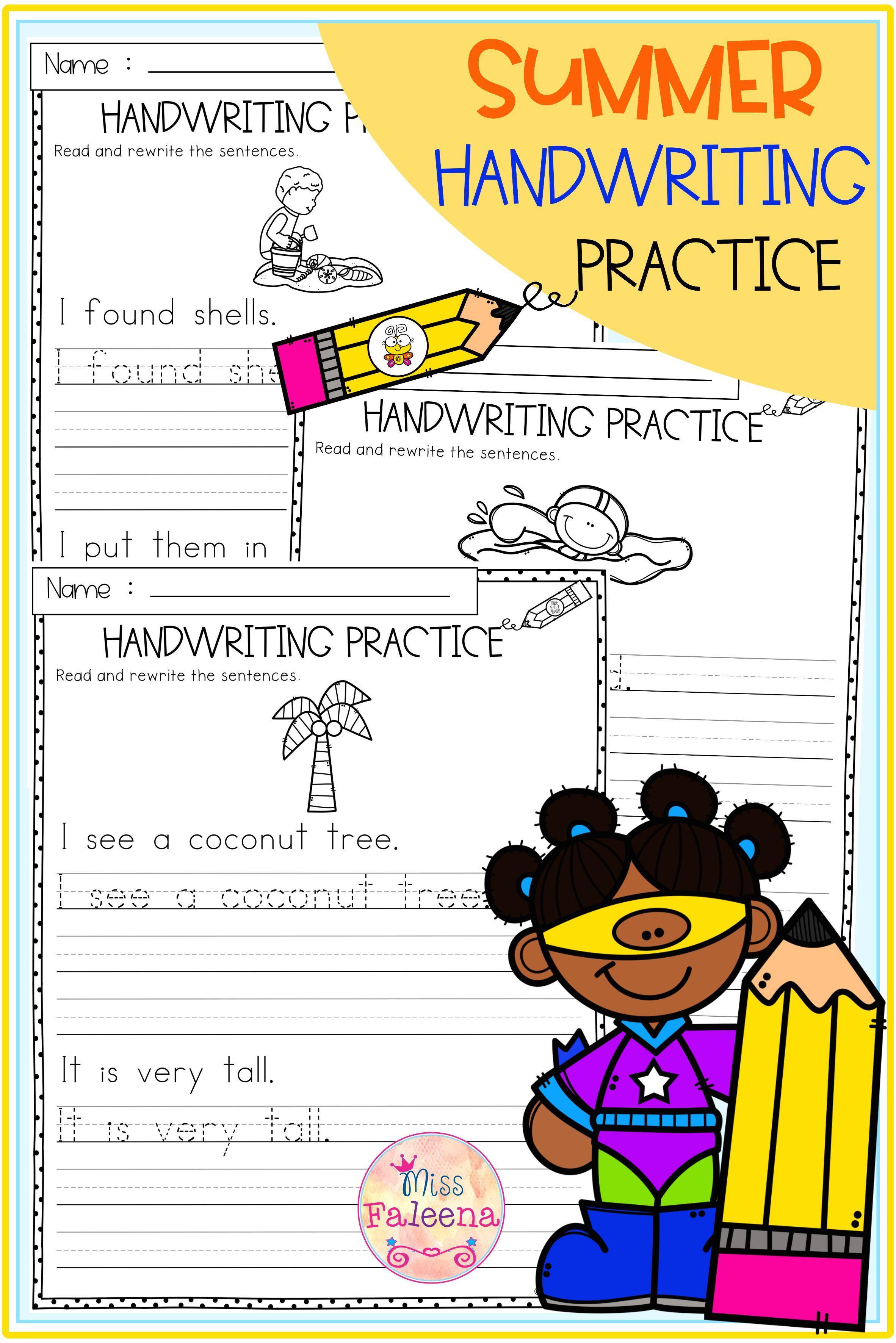 Summer Handwriting Practice In