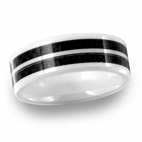 Men S 8 0mm White Ceramic Band With Double Carbon Fiber Stripe White Ceramics Size 10 Rings Carbon Fiber