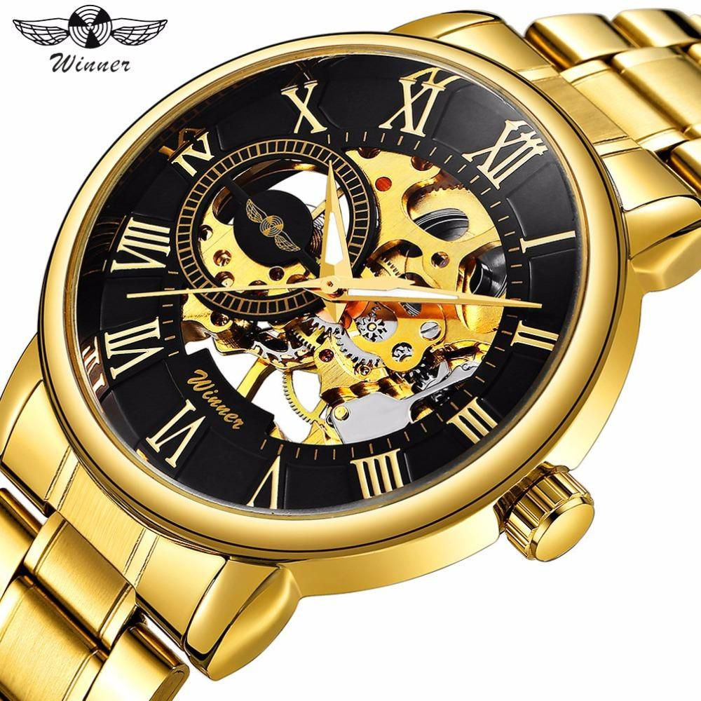 Watches Classic Golden Skeleton Mechanical Watch Men Stainless Steel Strap Top Brand Luxury Man Watch Vip Drop Shipping Wholesale