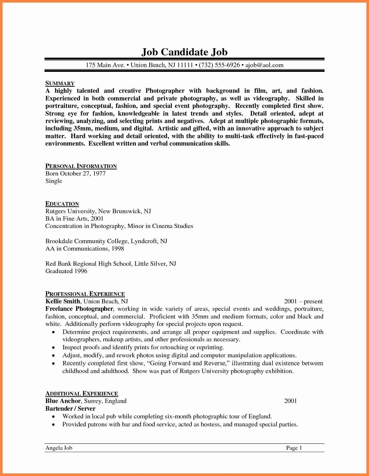 Image Result For Photographer Videographer Resume