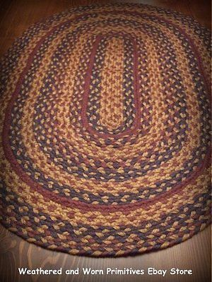Primitive Country Navy Tan And Burgundy Braided Jute Rug 20 X 30 Braided Rug Diy Braided Jute Rug Braided Rugs