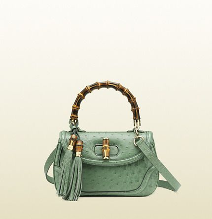 385fbd04e4 Gucci New Bamboo Ostrich Top Handle Bag in Light Green | My Style ...
