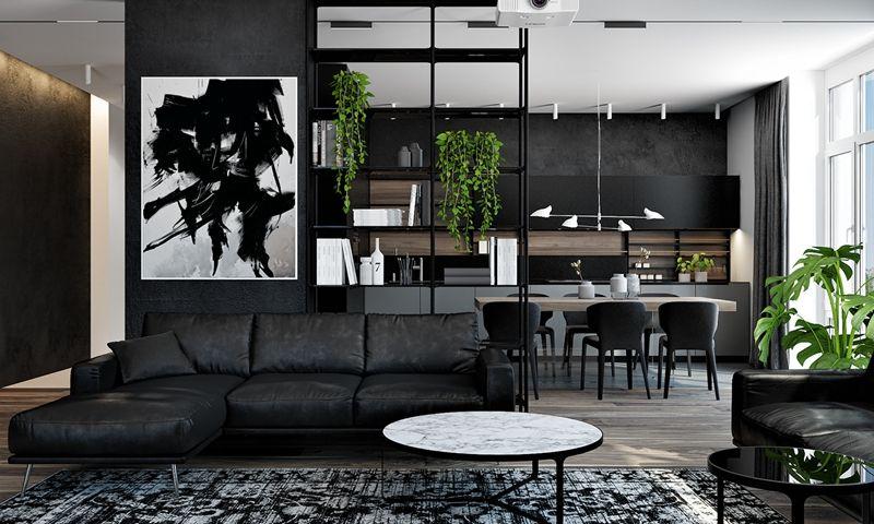 Apartment Interior Design In Modern Black Color Style Apartment Interior Apartment Interior Design Living Room Interior