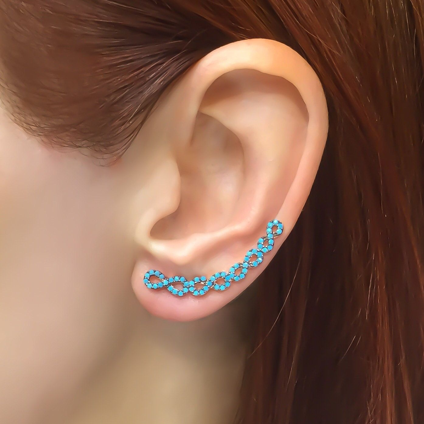 Silver Infinity Ear Cuff Ear Crawler Earrings Ear