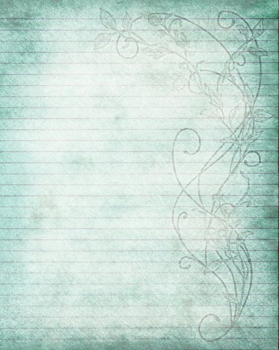 Printable Journal Page, Flower Lined Stationery, 8 x 10 JPG - free lined stationery