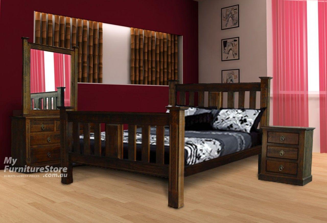 King single eureka bed rough sawn australia 39 s best online furniture bedroom furniture - Best online furniture stores ...