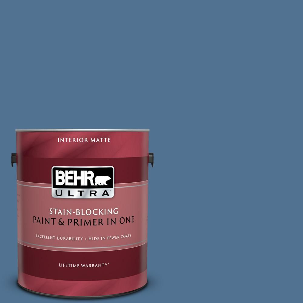 Behr Ultra 8 Oz Ul240 19 Laguna Blue Matte Interior Exterior Paint And Primer In One Sample Ul240 19 Interior Paint Behr Flat Interior