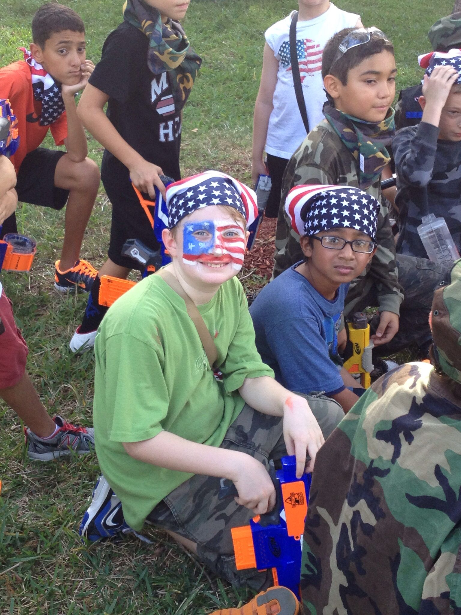 NERF GUN WARS - ready for battle. There were two teams for the capture the