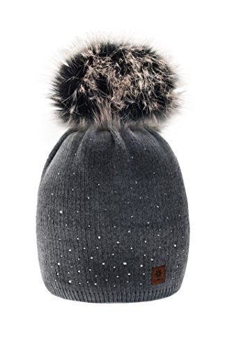 1dec6ce39c2 From 7.99 4sold Womens Ladies Winter Hat Knitted Beanie Large Pom Pom Cap  Ski Snowboard Hats Bobble Small Crystals Sequins (black)