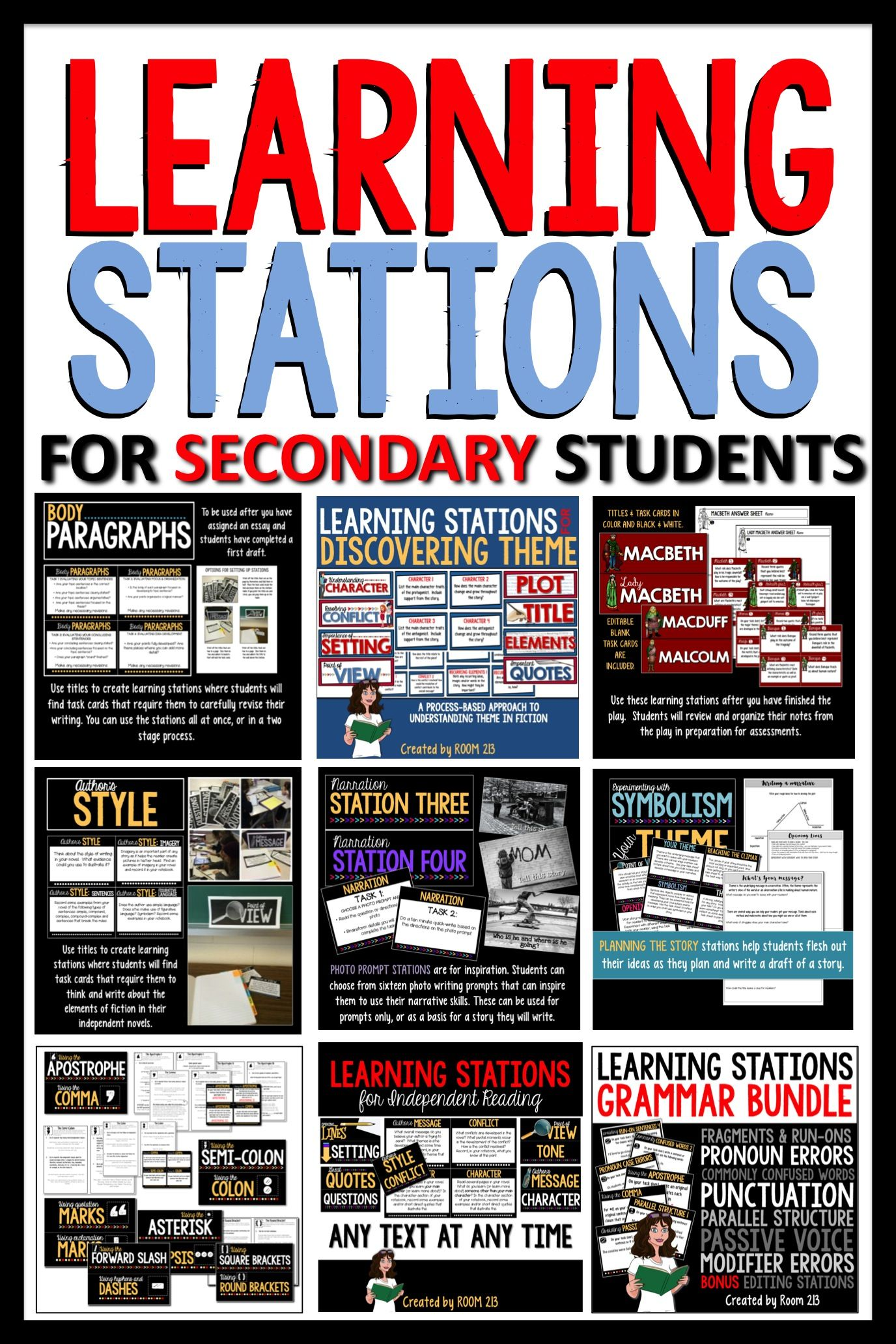 Learning stations for middle and high school English classes in ...