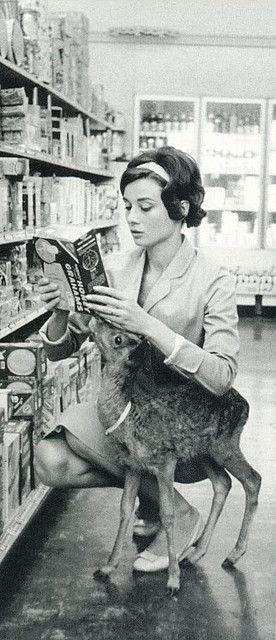 Audrey Hepburn and deer.