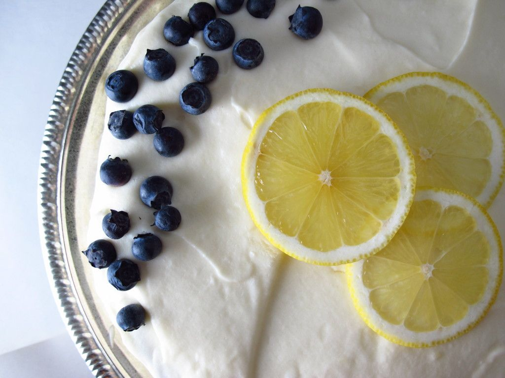 Blueberry Lemon Birthday Cake with Cream Cheese Frosting