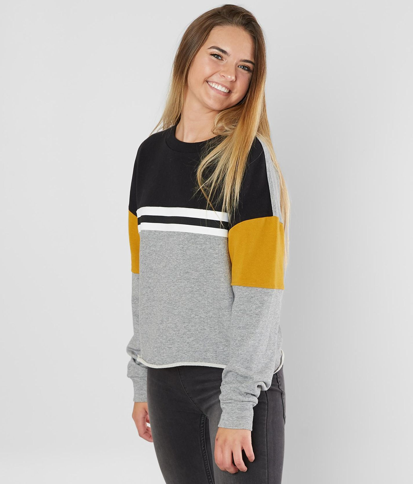 8fb8183570 Daytrip Striped Sweatshirt - Women s Sweatshirts in Black Grey Mustard