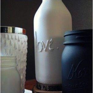 Que bonito queda! Sólo es necesario una botella de vidrio, pistola de silicona, un poco de arte para escribir y pintura para cubrir que se adhiera bien al vidrio ☺