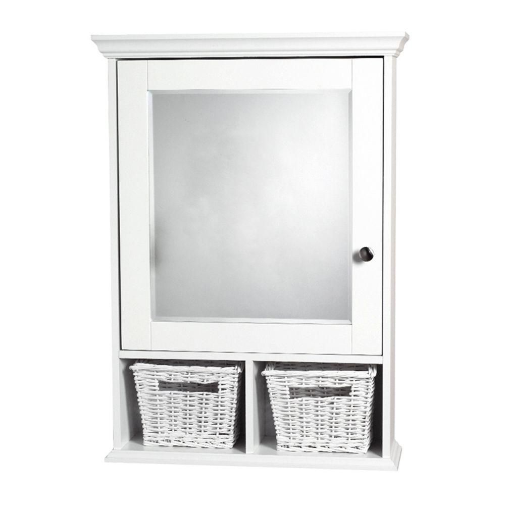 Zenith 21 In X 29 In Wood Surface Mount Medicine Cabinet With Baskets In White And Beveled Mi Surface Mount Medicine Cabinet Wicker Decor Adjustable Shelving