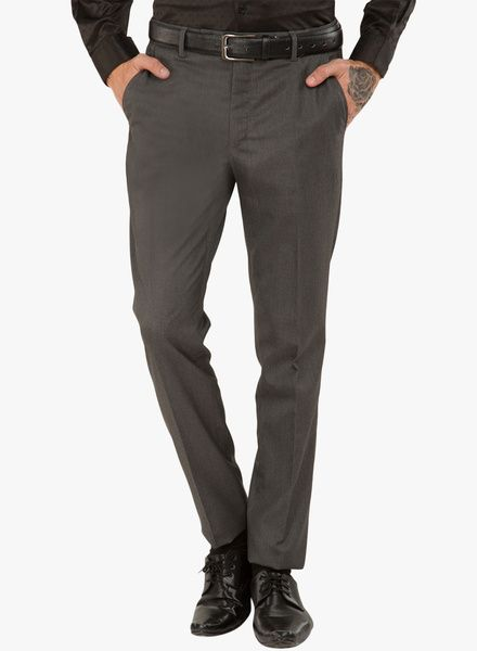 f9ae0c5f4 Buy Black Coffee Grey Solid Formal Trousers for Men Online India ...