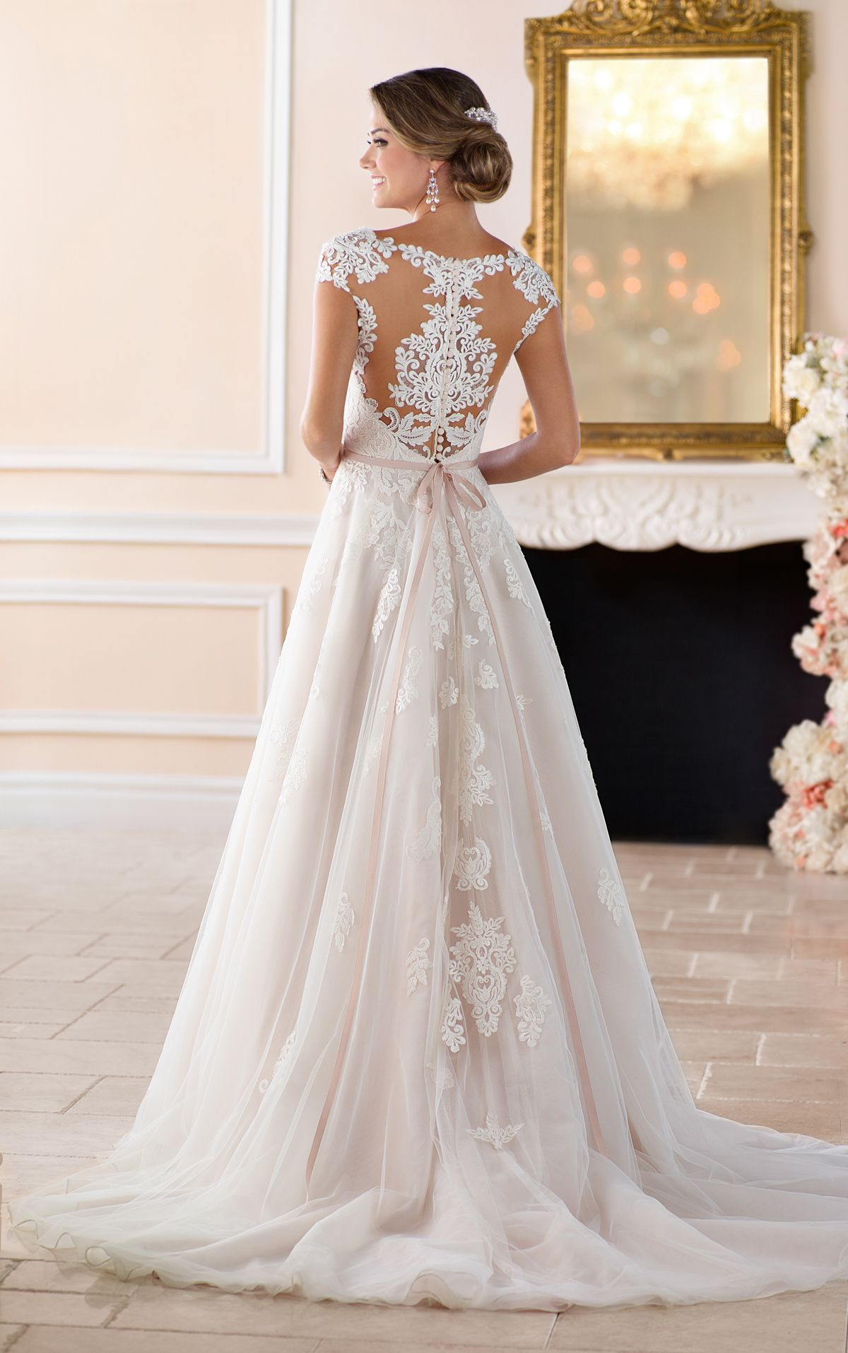 Lace cap sleeve a line wedding dress  Romantic Cap Sleeve Wedding Dress With Cameo Back  Unique dresses