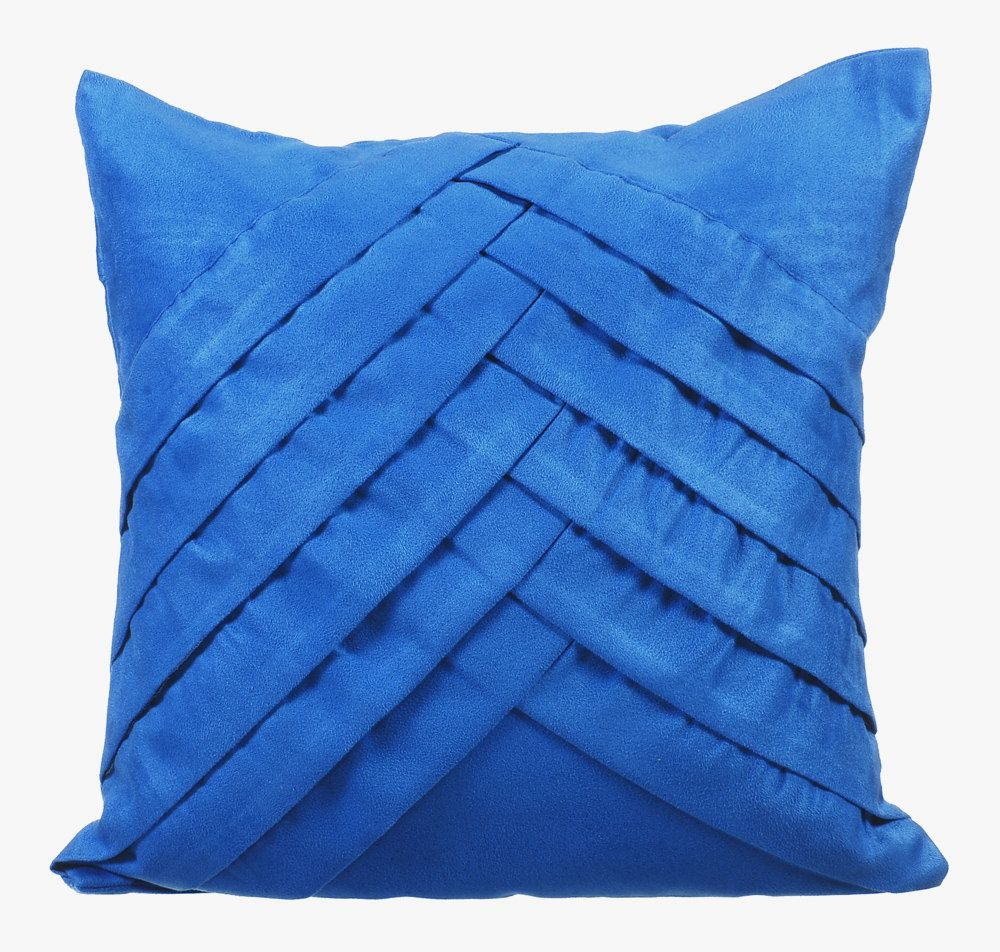16 X16 Designer Blue Couch Cushion Cover Faux Suede Throw Cushion Pintucks Textured Striped Chevron Couch Blue No Limits No Lines With Images Suede Pillows Blue Pillows Blue Pillow Cases