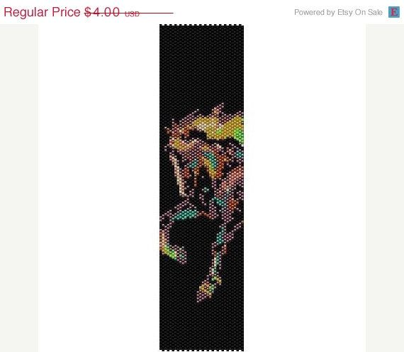 HOLIDAY SALE Painted Horse  beading cuff bracelet by garbanke, $2.80