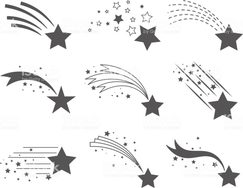 Shooting Stars Icons Comet Tail Or Star Trail Vector Set Isolated On Shooting Star Drawing Star Illustration Shooting Stars