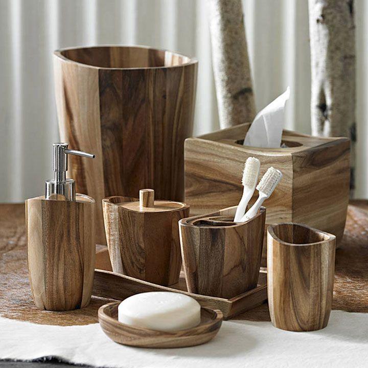 Acacia Wood Bath Accessories Rustic Bath Wooden Bathroom Rustic Bathroom Decor