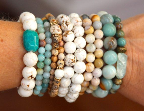 Multi,colored Amazonite Stack Stretch Bracelet, Beachy Colors, Boho Chic  Layering, Everyday, Versatile
