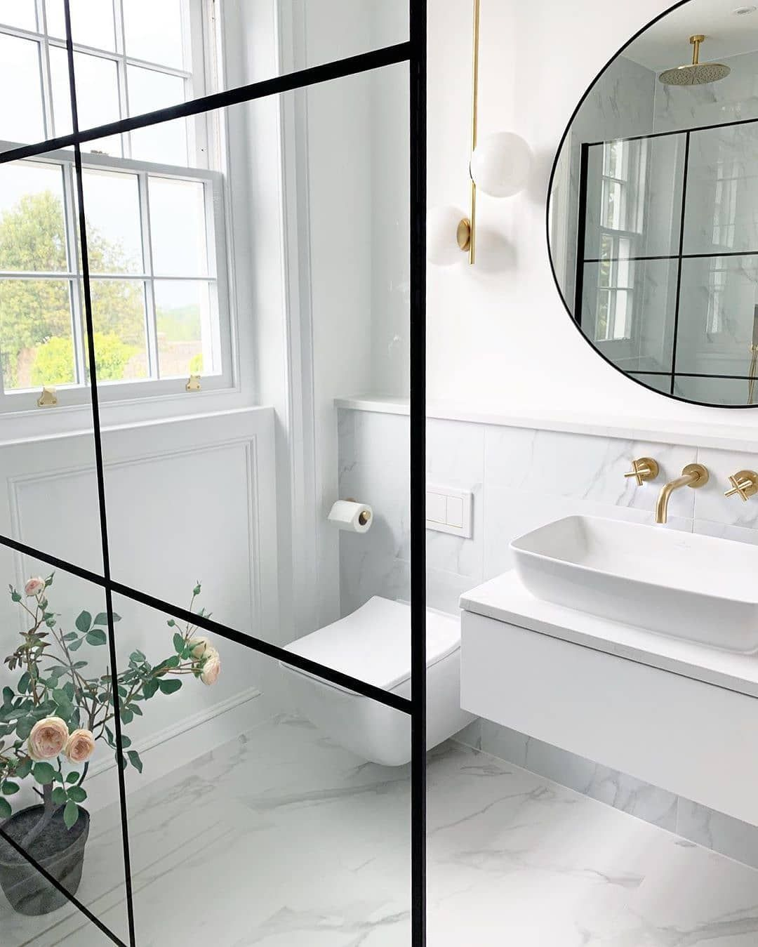 West Elm Uk On Instagram Bathroom Goals From Lovetearsandteepees Ft Our Sphere Stem Ceiling Lamp Monochrome Bathroom Loft Bathroom Bathroom Inspiration