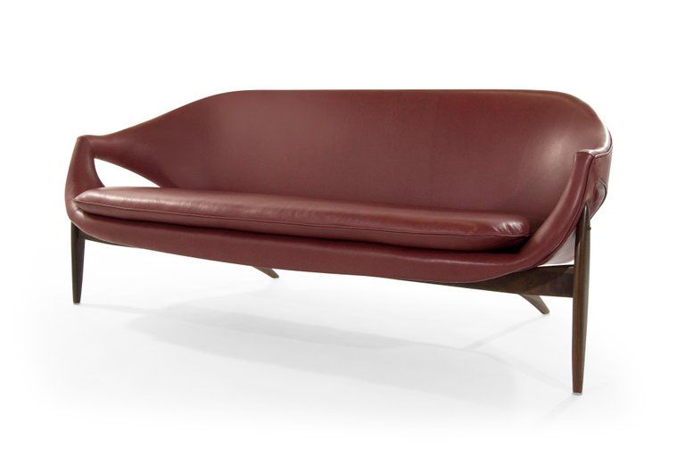 Sofa In Chianti Leather By Luigi Tiengo For Cimon Montreal 1963 Leather Sofa Sofa Design Furniture Designer