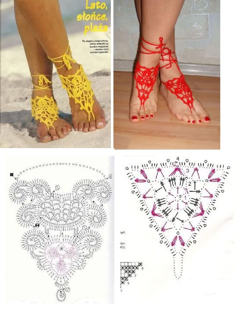 Falsas sandalias con esquema gráfico | crochet | Pinterest | Esquema ...
