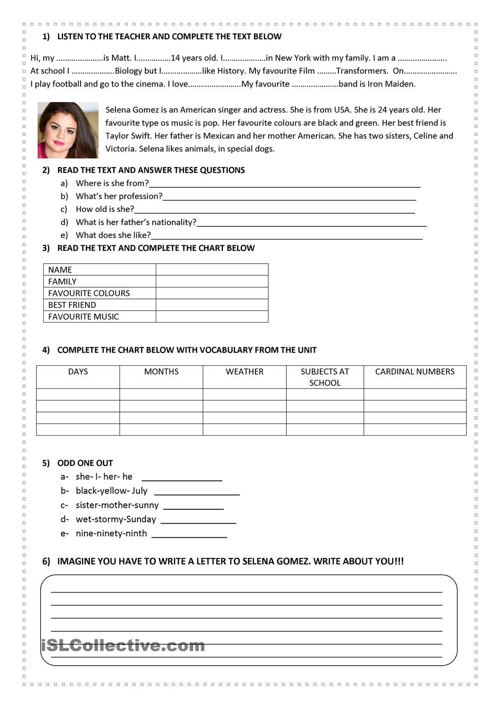 All About Me All About Me Worksheet English Teaching Materials