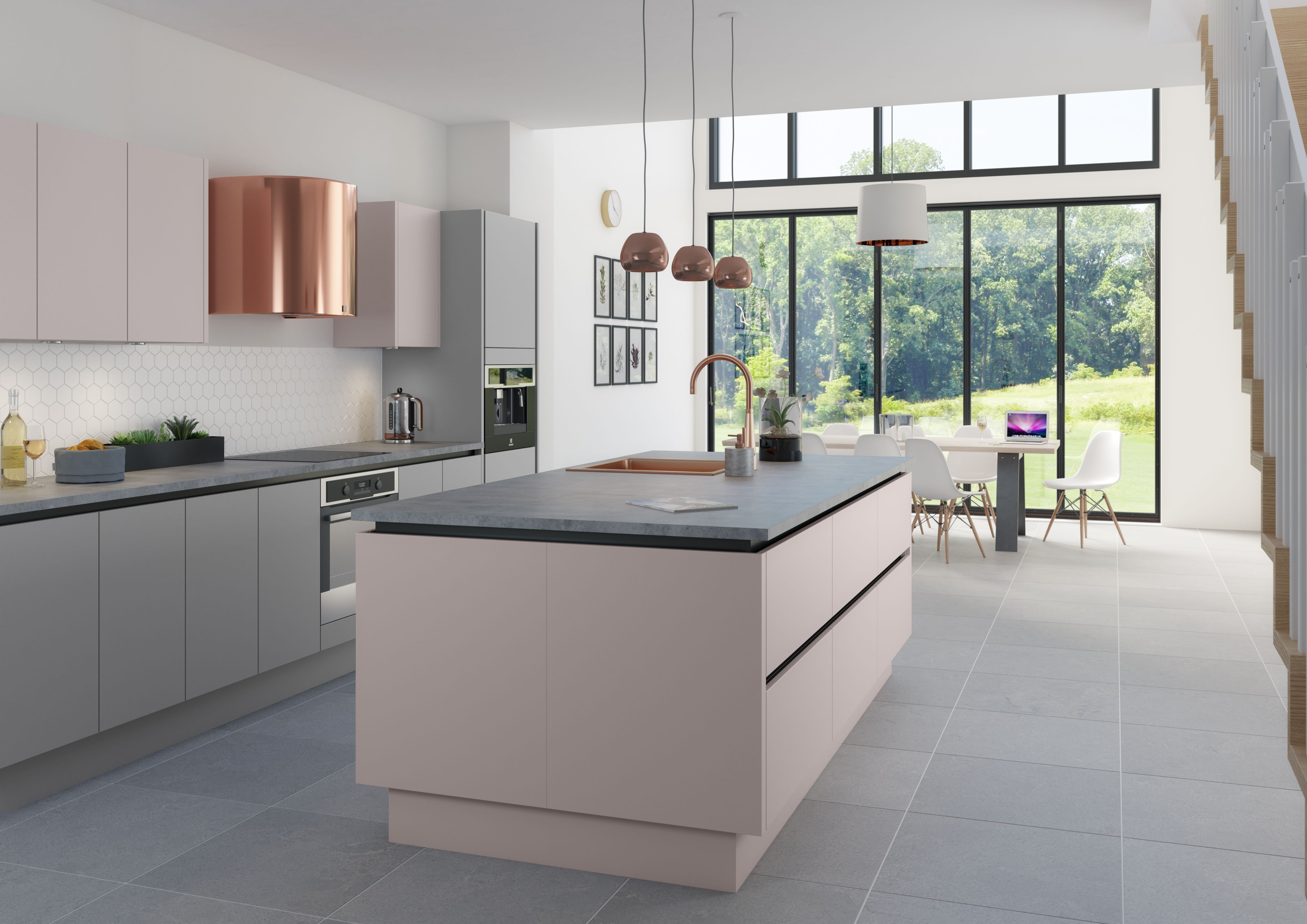 Delicate Shades And Brass Accents Inject A Sense Of Romance And Warmth Into Your Kitchen This M In 2020 Contemporary Kitchen Interior Kitchen Trends Kitchen Remodel