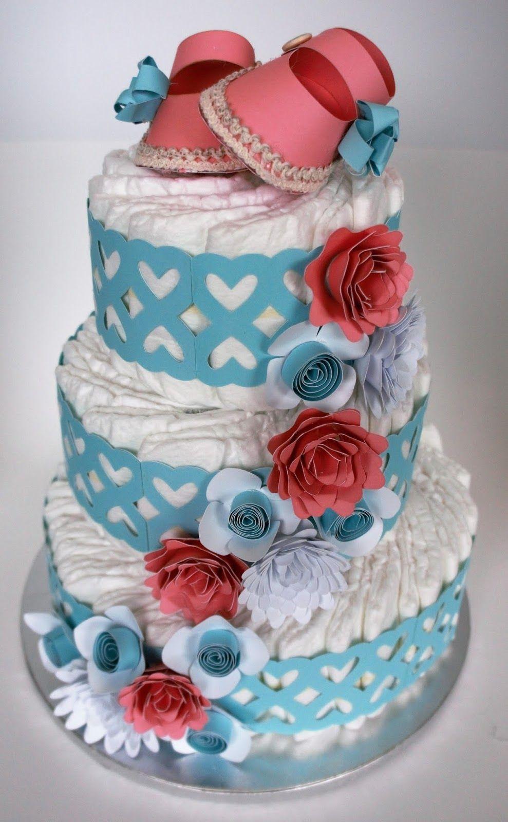 Baby Shower Diaper Cake Baby girl diaper cake, Baby