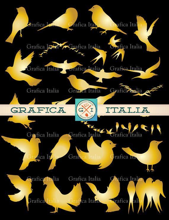 Gold Birds Clipart Elements - Golden Bird Assortment Lrg Sml Clip Art Instant Digital Download PNG Transparent Background PSD Collage Sheet