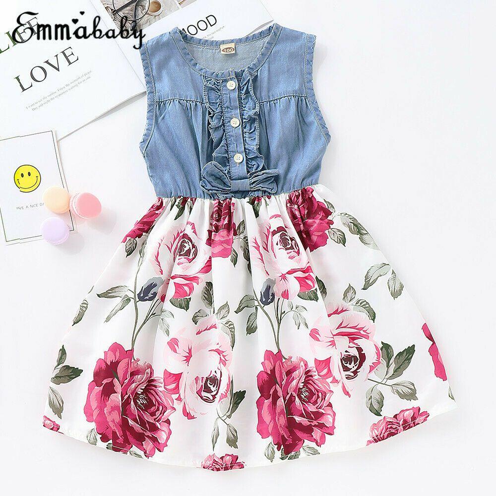 Toddler Infant Kids Baby Girls Summer Floral Dress Princess Party Dress Clothes