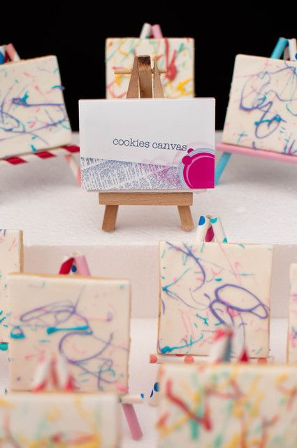 Paint On Your Own Cookie Canvas At An Art Party See More Ideas Catchmyparty Partyideas