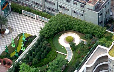 a birds eye view of the garden on top of minli middle school shanghai