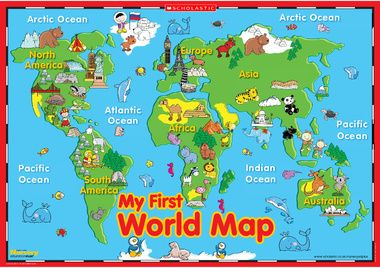 image relating to Printable Maps for Kids called My 1st global map poster produce a present Clroom map