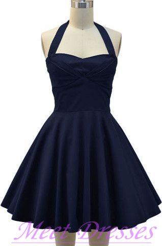 Cheap A Line Halter Chiffon Navy Blue Homecoming Dresses Short Prom ...