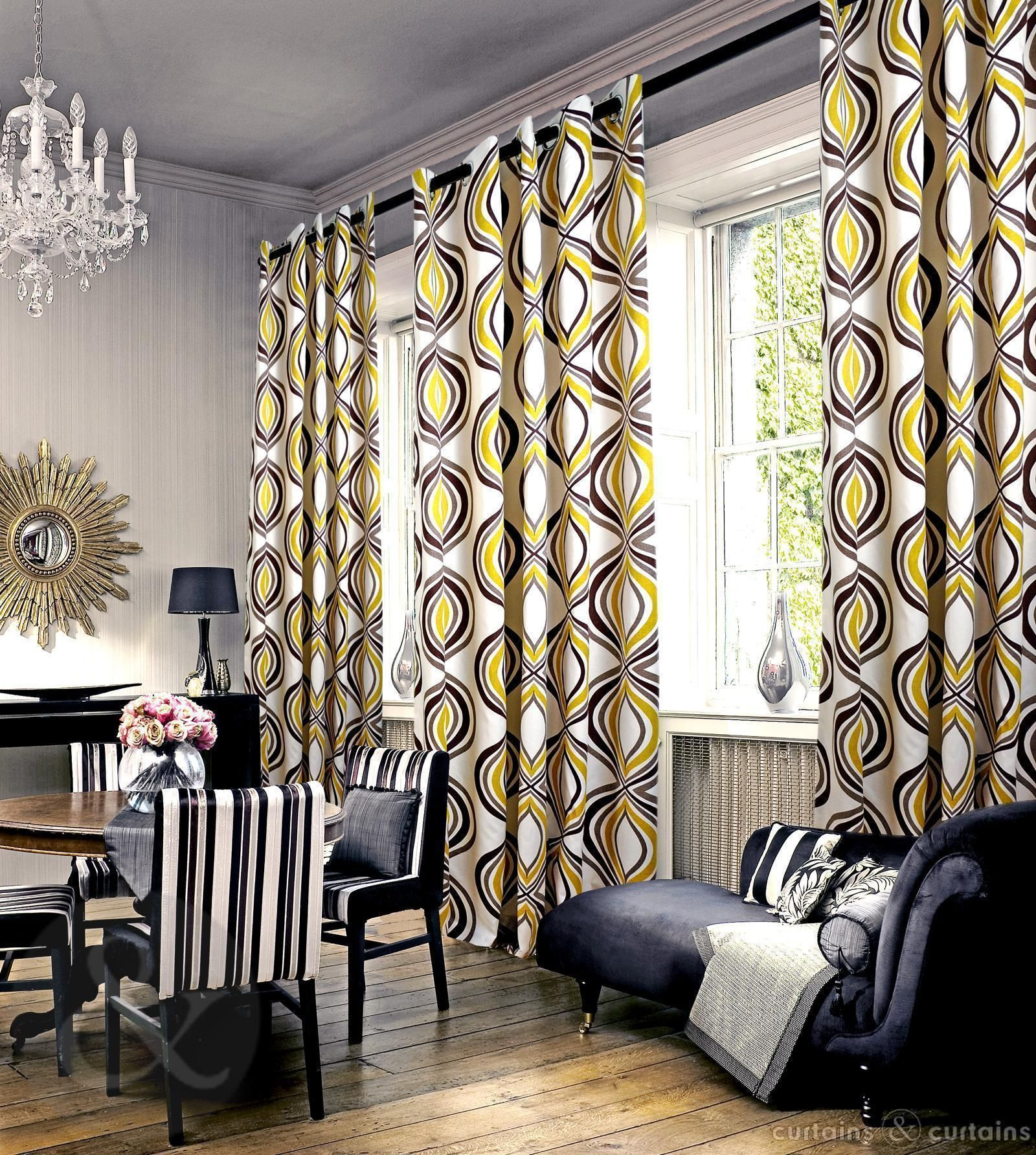 Lovely pattern on these mustard yellow curtains! | Orange ...