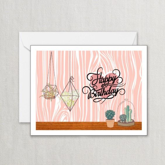 Happy Birthday Card Pastel Card With Party Banner And Tags