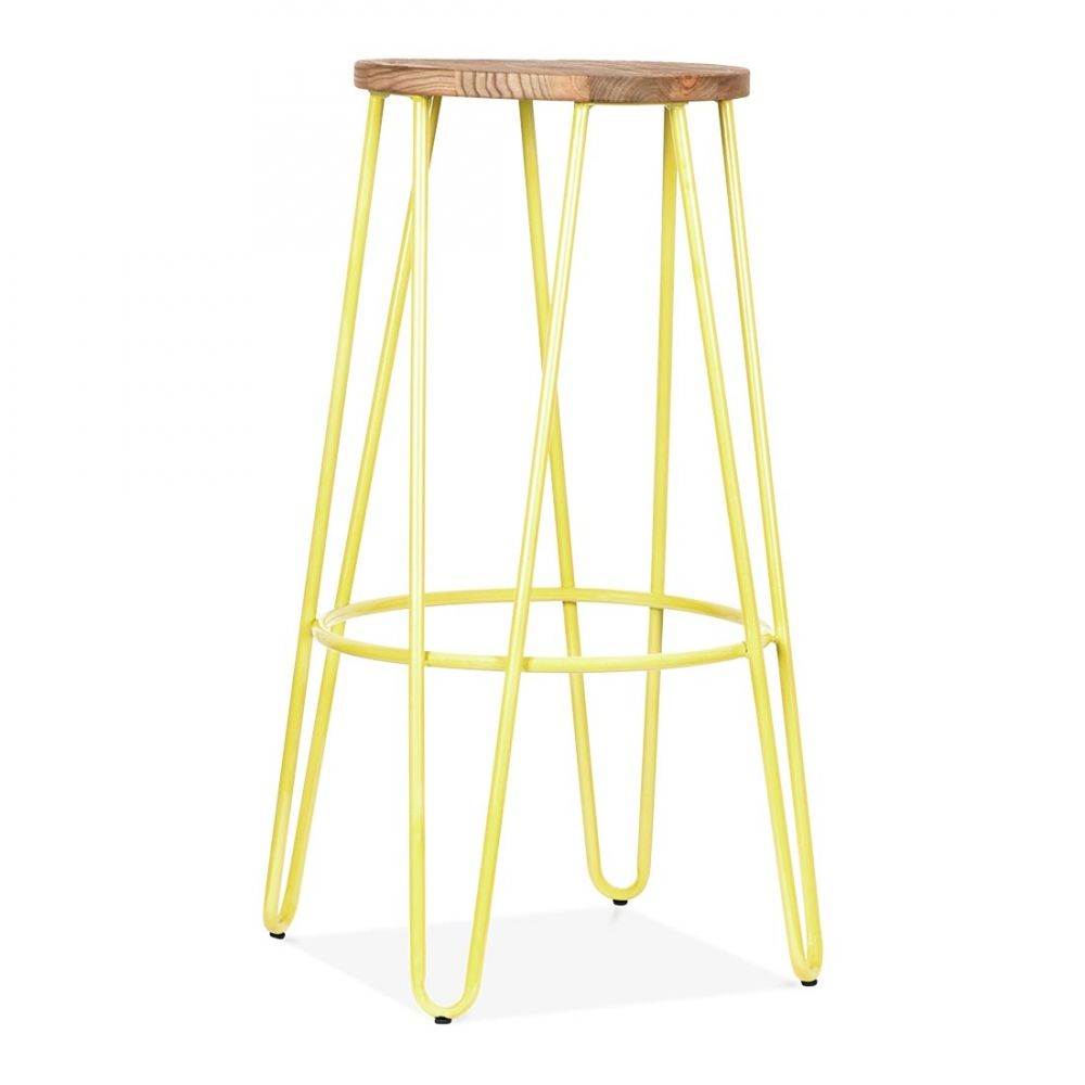 cult living hairpin stool yellow with natural elm wood seat 76cm 62 good yellow stools furniture n16 stools