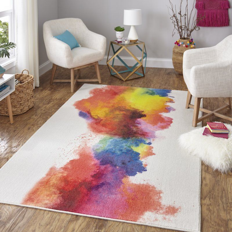 Engler Watercolor Rainbow Red Beige Yellow Area Rug Area Rugs Yellow Area Rugs Blue Area Rugs