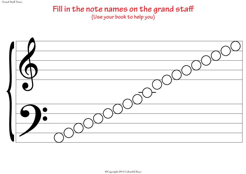 Grand Staff Blank Notes Worksheet For Note Naming Practice With