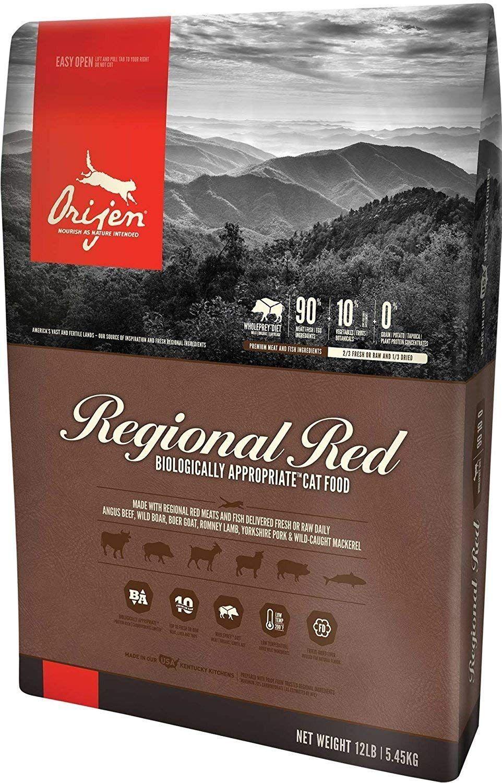 Orijen Regional Red Dry Cat Food 12 Lb Bag Angus Beef Wild