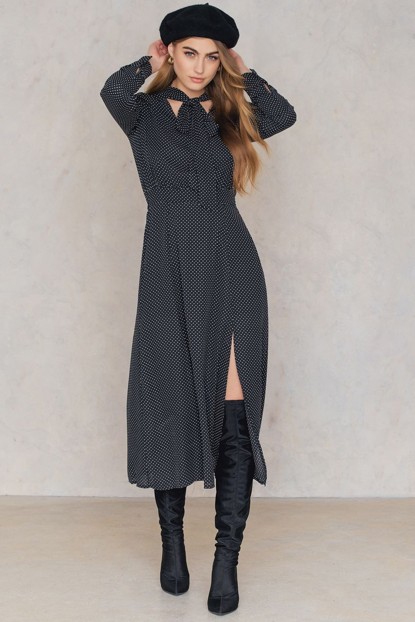 Stay classy but sassy the dotted overlap maxi dress by trendyol