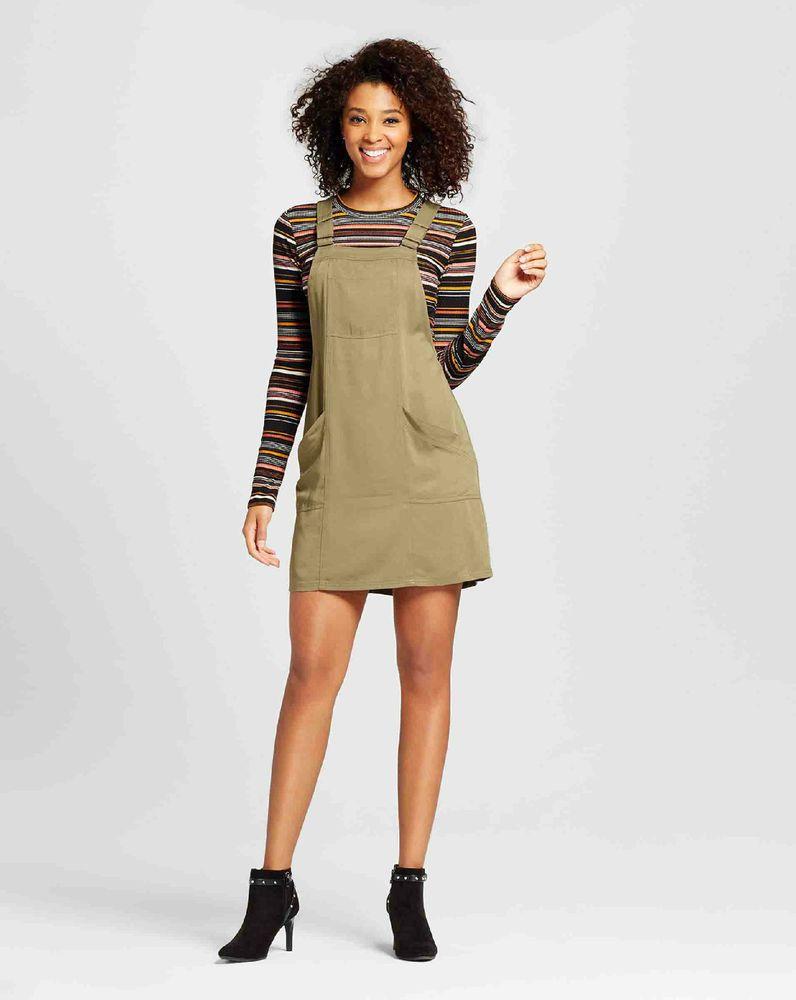 Xhilaration Women S Jr Small Pinafore Dressolive Green Rayon Nwt Long Sleeve Tops Pinafore Dress Women [ 1000 x 796 Pixel ]
