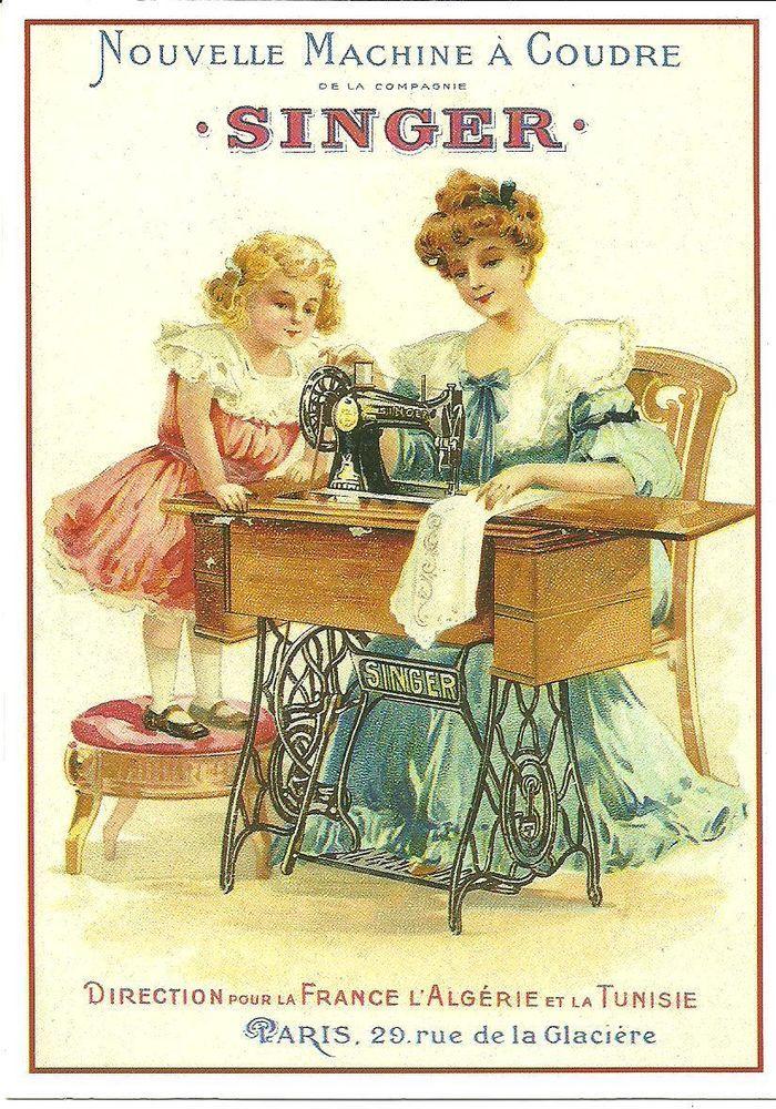 Carte postale publicite singer la nouvelle machine a for Machine a coudre singer
