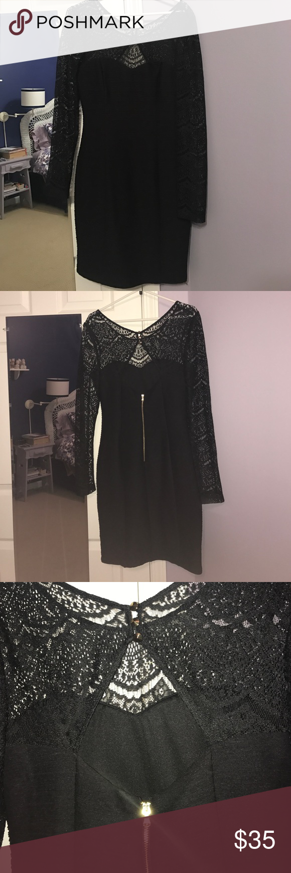 Black bodycon dress tight black dress with gold detailing and lace