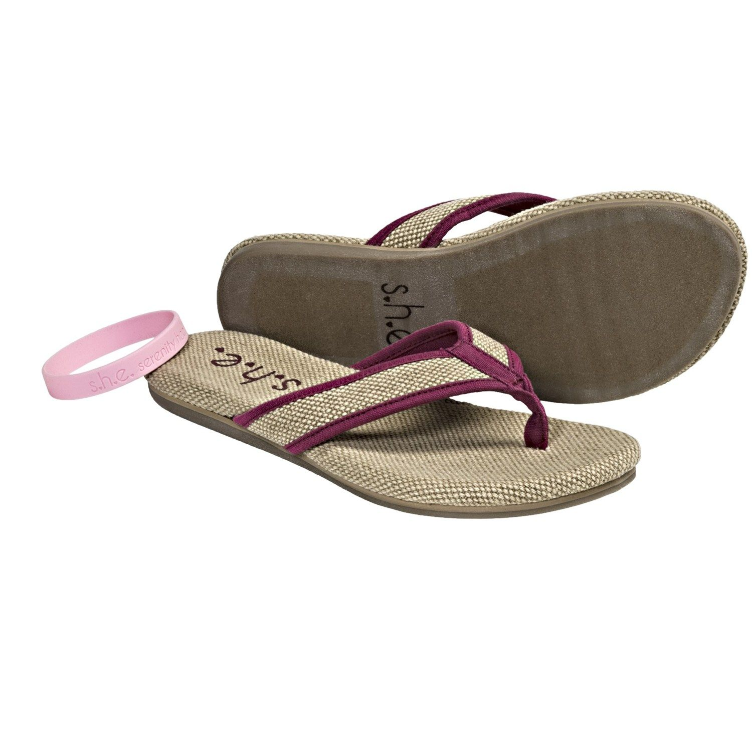 cb73dbb1324339 S.H.E. Hemp Sandals - Flip-Flops (For Women) in Burgundy
